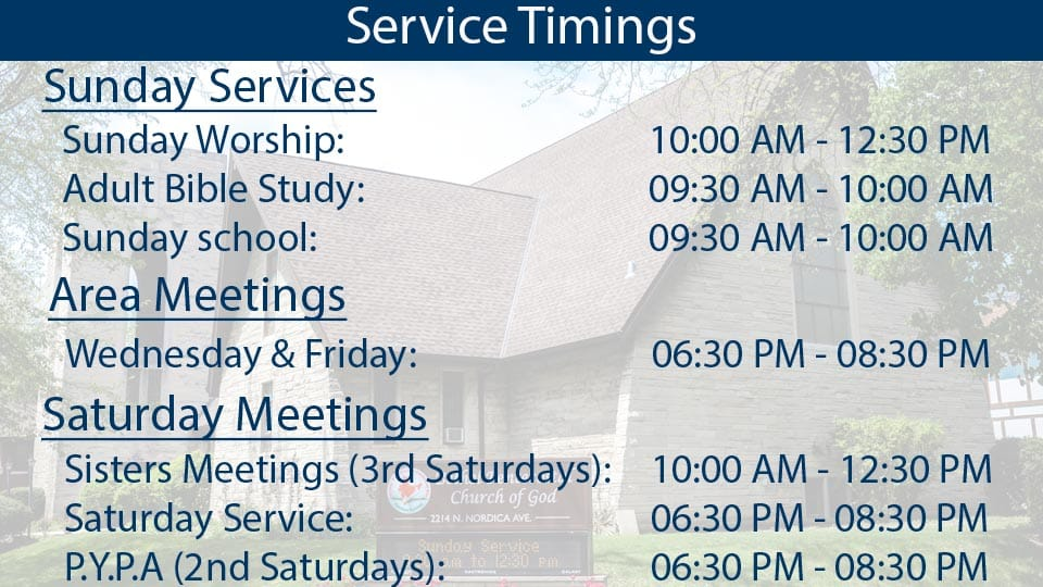 Service Timings Bethel IPC Chicago